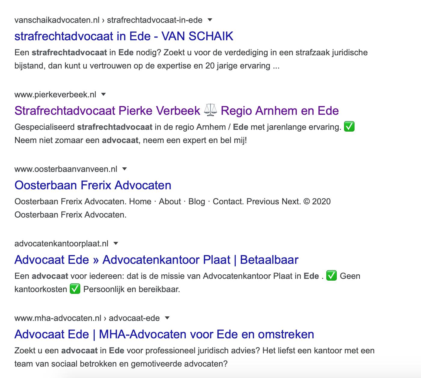 Hoog in de zoekmachine resultaat gerichte optimalisatie advocaat