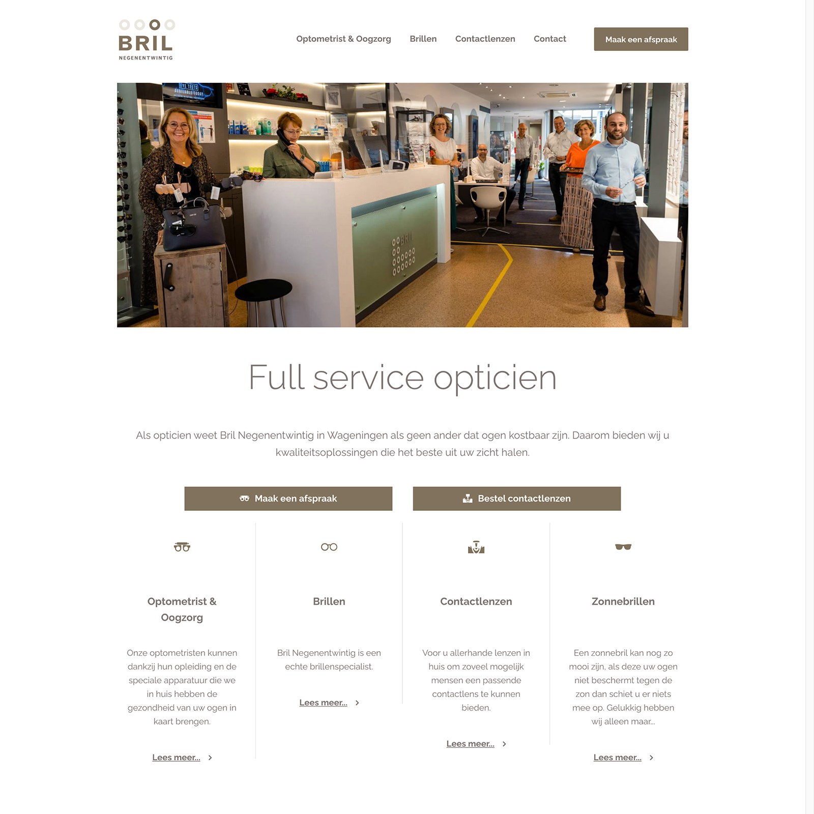 Webdesign-Wageningen-opticien-Bril-Negenentwintig
