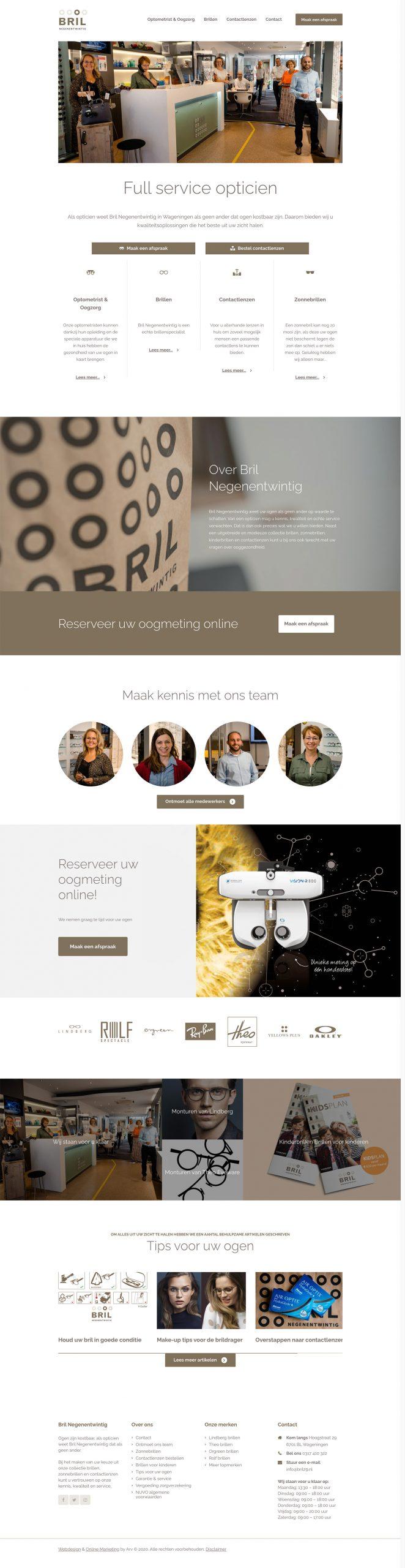 Webdesign Wageningen opticien Bril Negenentwintig