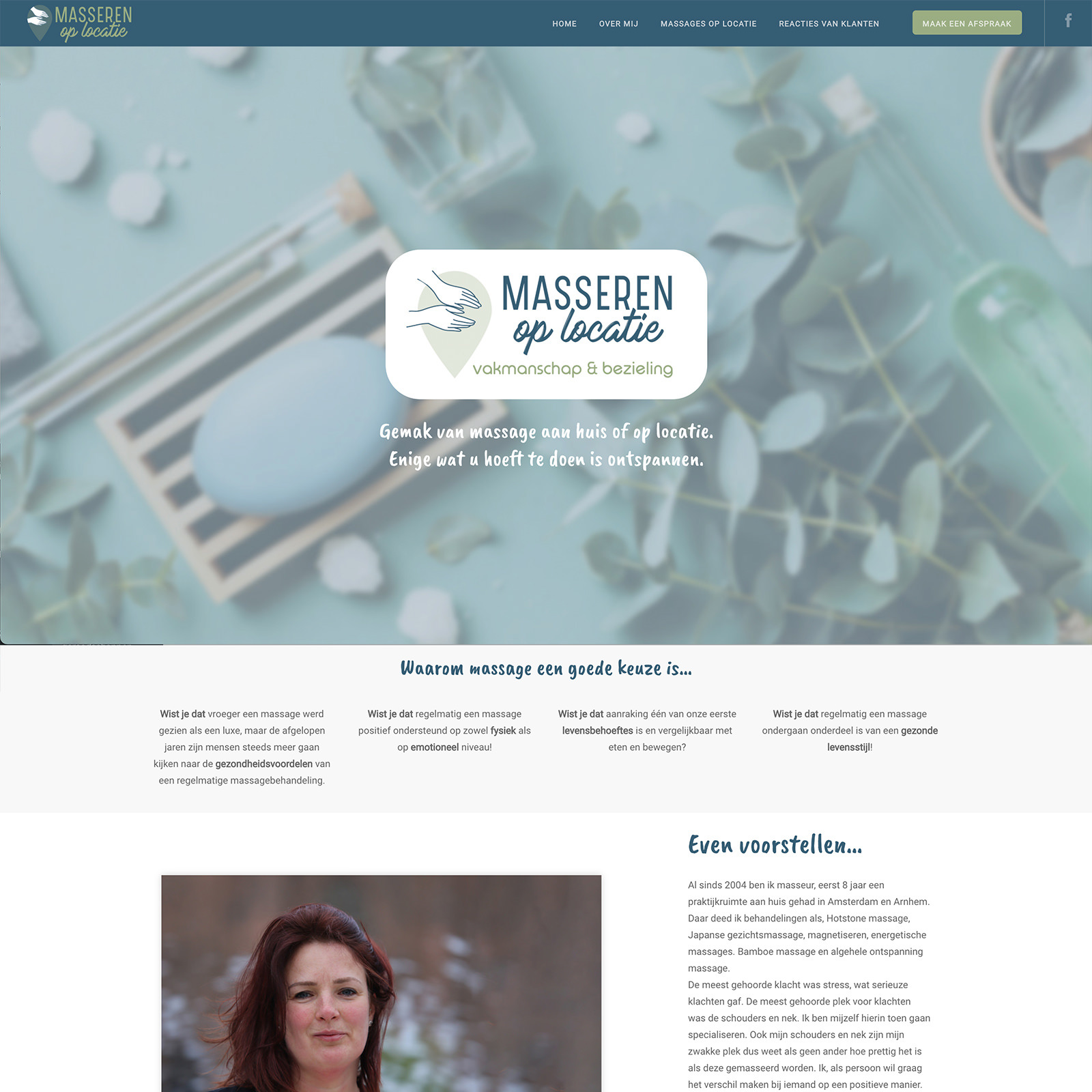 Webdesign massage op locatie massagesalon masseur