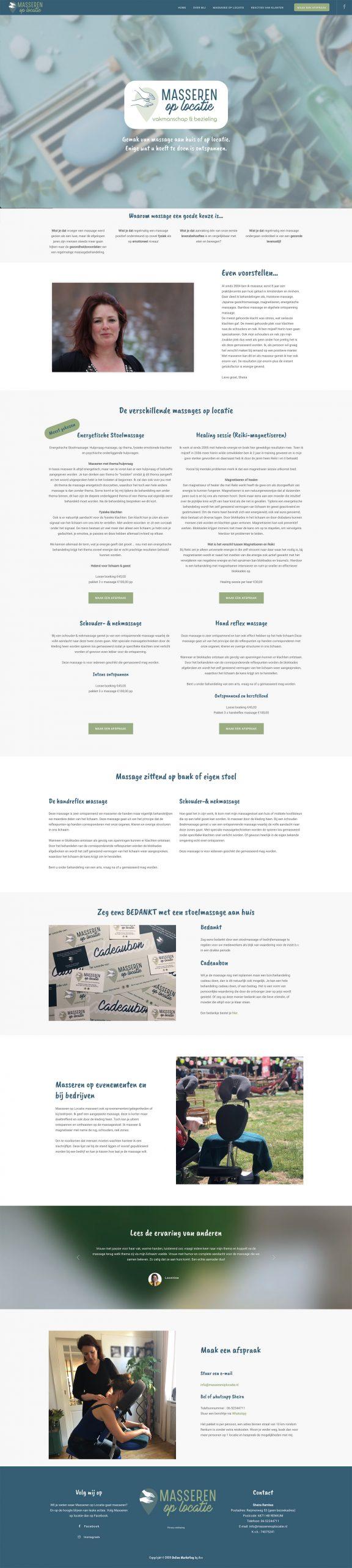 Webdesign massage op locatie massagesalon masseur